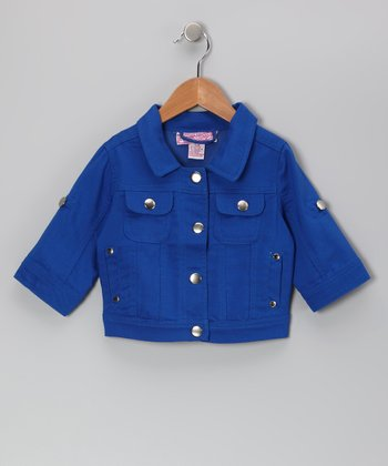 Cobalt Button-Sleeve Jacket - Toddler & Girls