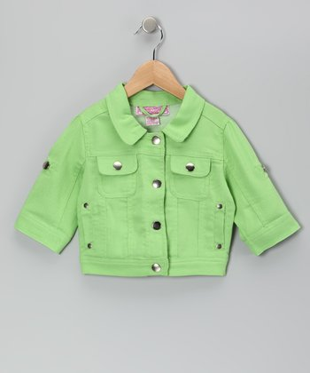 Lime Button-Sleeve Jacket - Toddler & Girls