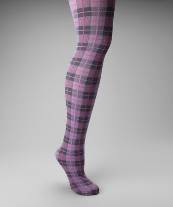 Purple & Pink Plaid Tights