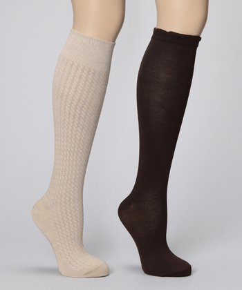 Khaki & Brown Knee-High Socks Set