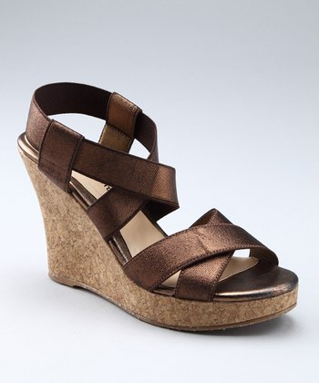 Brown Metallic Ionia Wedge Sandal
