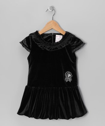 Black Velvet Bubble Dress - Toddler & Girls