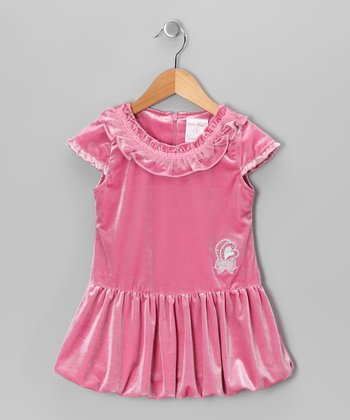 Pink Velvet Bubble Dress - Girls