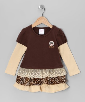 Beige Leopard Ruffle Drop-Waist Dress - Toddler & Girls
