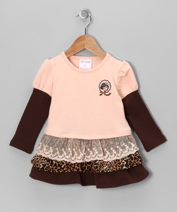 Peach Leopard Ruffle Drop-Waist Dress - Toddler & Girls