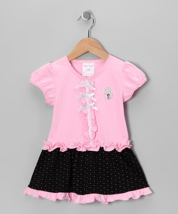 Pink & Black Bow Dress - Toddler & Girls