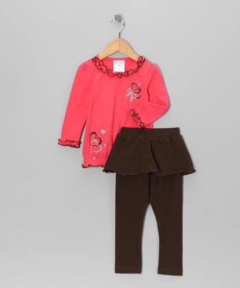 Coral Lettuce-Edge Tunic & Skirted Leggings - Girls