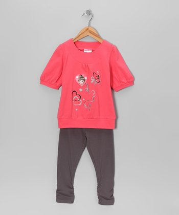 Coral Heart Tunic & Leggings - Toddler & Girls