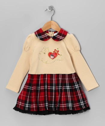 Beige Heart Plaid Dress - Toddler & Girls