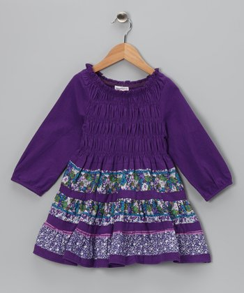 Purple Shirred Dress - Girls