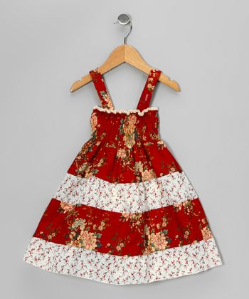 Crimson Floral Shirred Dress - Girls