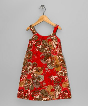 Red Flower Swing Dress - Girls