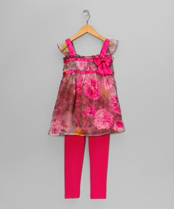Pink Flower Swing Top & Leggings - Toddler