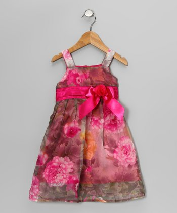 Pink Floral Bow Chiffon Dress - Toddler & Girls