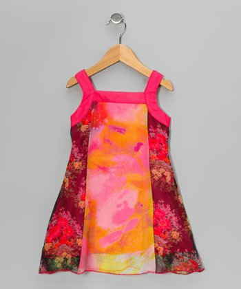 Hot Pink & Purple Floral Chiffon Dress - Toddler & Girls