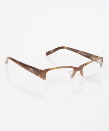 Khaki Rectangle Half Frame Eyeglasses