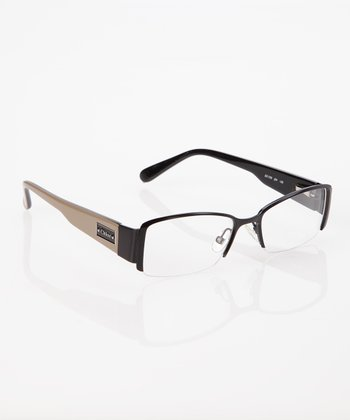 Black & Tan Arm Half Frame Eyeglasses