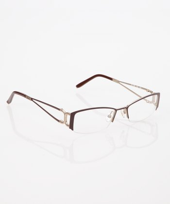 Chocolate Split Arm Half Frame Eyeglasses