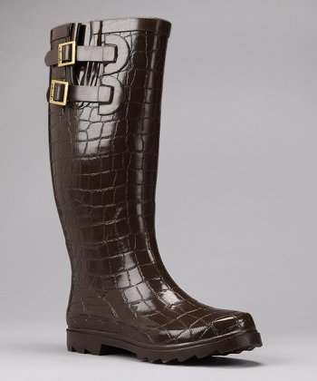 Chocolate Crocodilia Rain Boot