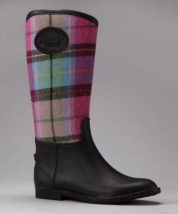 Pink Plaid Rain Boot