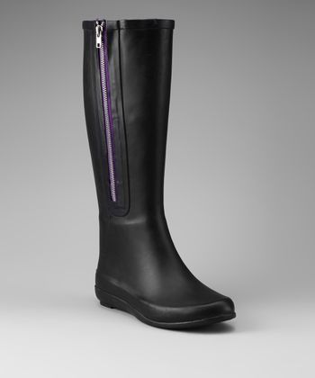 Black & Purple Zip-Up Rain Boot