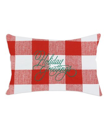 Red & White 'Holiday Greetings' Pillow