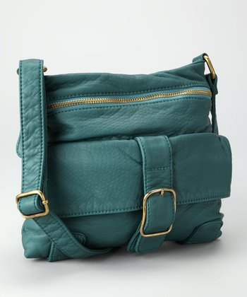 Teal Distressed Crossbody Bag