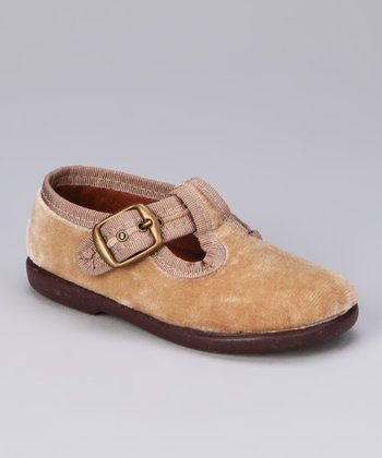 Beige Fabric T-Strap Shoe