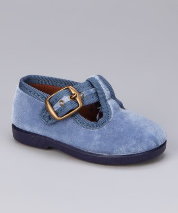 Blue Fabric T-Strap Shoe