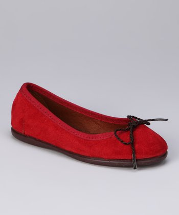 Chuches Red & Crimson Bow Flat