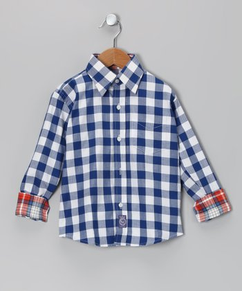 Blue Checkerboard Woven Button-Up - Infant, Toddler & Boys