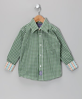 Bright Green Gingham Woven Button-Up - Infant, Toddler & Boys