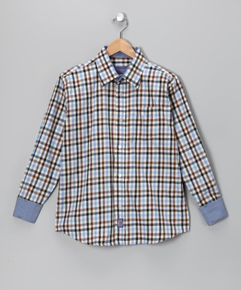 Light Blue & Brown Plaid Woven Button-Up - Infant, Toddler & Boys