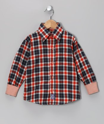 Orange & Navy Plaid Woven Button-Up - Toddler & Boys
