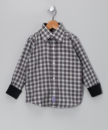 Navy & White Plaid Woven Button-Up - Toddler & Boys