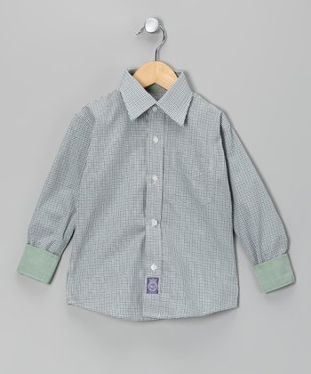 Green & Purple Plaid Woven Button-Up - Toddler & Boys