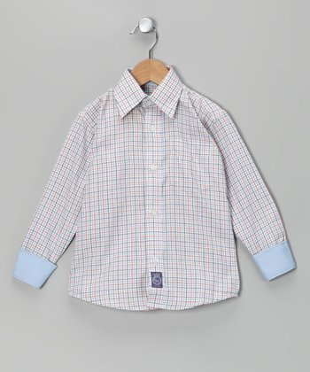 Orange & Light Blue Plaid Woven Button-Up - Infant, Toddler & Boys