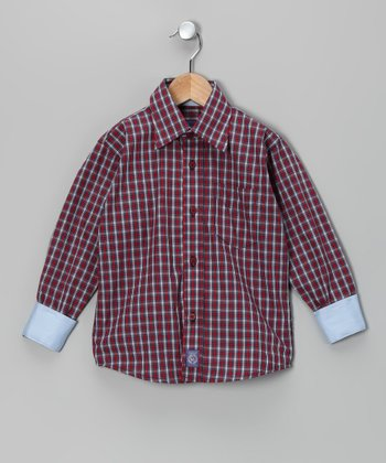 Red & Blue Plaid Woven Button-Up - Toddler & Boys