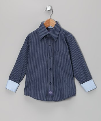 Blue Stripe Woven Button-Up - Toddler & Boys