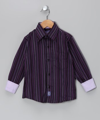 Purple Stripe Woven Button-Up - Infant, Toddler & Boys