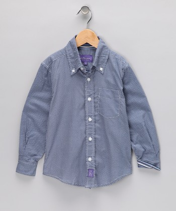 Blue Polka Dot Button-Up - Toddler & Boys