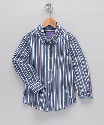 Blue Stripe Button-Up - Boys