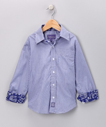 Blue Stripe Nautical Button-Up - Infant & Boys