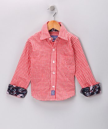 Red & Navy Gingham Button-Up - Boys