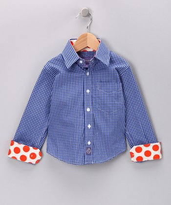 Blue & Orange Polka Dot Button-Up - Boys