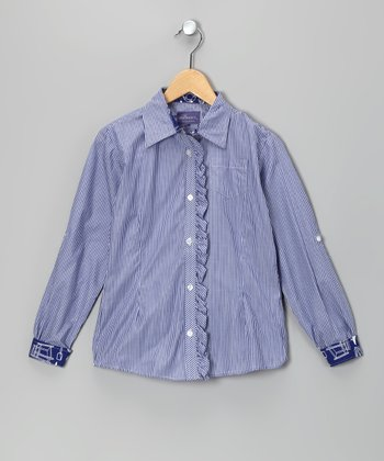 Blue Gretta Ruffle Button-Up - Girls