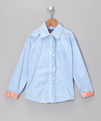 Light Blue Gretta Ruffle Button-Up - Toddler & Girls