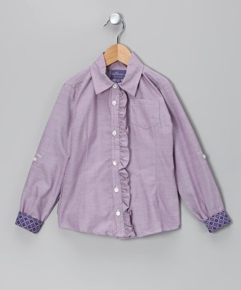 Purple Gretta Ruffle Button-Up - Toddler & Girls