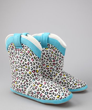 Blue Leopard Cowgirl Slipper Boot