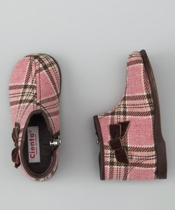Cienta Pink Plaid Slipper